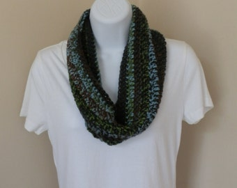 In to the Forest Cowl  --  Crochet Infinity Scarf Fall Weather READY TO SHIP