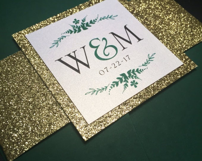 Glitter belly bands for wedding invitation. Glitter Gold with card enclosure. Elegant, Fancy and Chic wedding decor.