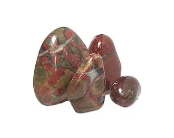Jasper Red Flower Jaspers, Brick Jasper, 4 Polished Crystalline Rocks, Wire Wrap Pendant Semiprecious Gemstone, Lucky Charms