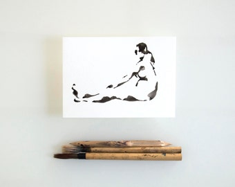 Original nude ink art drawing, female nude drawing, modern art, female art, nude painting, nude ink art, minimal, art, original female nude