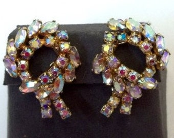 Large Aurora Borealis Rhinestone Statement Earrings Aurora Borealis Rhinestone Bridal Earrings Bow Wreath AB Rhinestone Earrings DD 1139