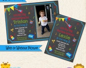 Music Invitation • Instrument Invitation • Guitar • 1st Birthday Party • Drums • Piano • Second • Picture • Boy Invitation • Thank You •014D