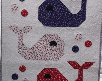 Whale Quilt Blanket, Baby Boy Quilt, Nautical Quilt Blanket, Navy Blue, Red, White, Handmade Quiltsy