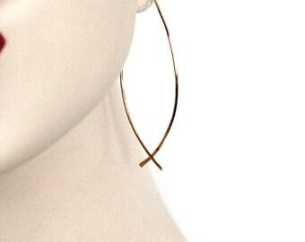 thin gold hoops | fish hoop earrings | threader earrings | 14k gold filled sterling silver hoops | lightweight minimalist jewelry