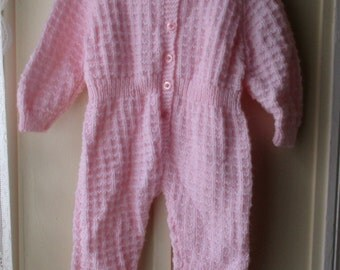 Vintage handknit layette, Pretty in pink one piece knit suit / footed baby romper 9-12 months