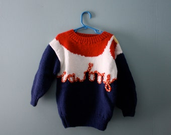 Vintage Handknit Cowboy Sweater / 1980s knit novelty sweater in red, white & blue / Chunky knit sweater / Size  4T to 6