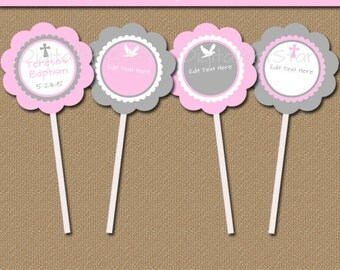 Pink and Gray Christening Cupcake Toppers - Printable Baptism Cupcake Decorations - EDITABLE Cross Cupcake Toppers INSTANT DOWNLOAD I4