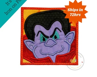 Vampire in block iron on applique- no sew machine embroidered Halloween patch- count dracula holiday -DIY boutique fashions- ready to ship