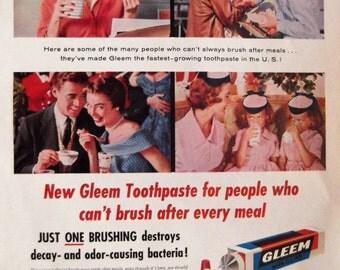 GLEEM TOOTHPASTE Original Vintage Advertisement Bathroom Print Dentist Dental Office Decor Dental Hygienist Wall Decor Ready To Frame
