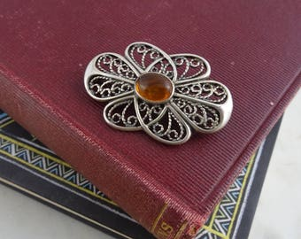 Vintage Sterling Silver Brooch with Amber Glass Stone, Silver 925, Ornate Filigree Brooch