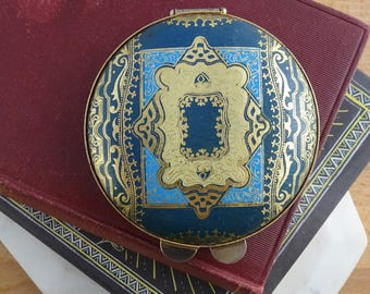 Stunning Vintage Italian Florentine Powder Compact, Art Deco Style, Blue & Gold Leather Compact,  Pocket Mirror,