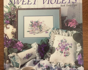Sweet Violets By Paula Vaughan Vintage Cross Stitch Pattern Leaflet 2059  Book Forty Two