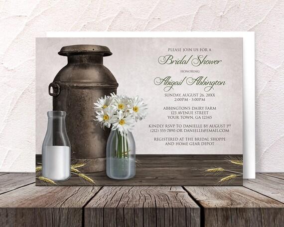 Farm Style Wedding Invitations: Rustic Dairy Farm Country