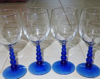 """4 LIBBEY COBALT BALL Stems Wine Water Goblets Clear Crystal Glasses 8"""" Tall 12 Oz. Set Four with Stickers Usa Glassware Excellent Condition"""