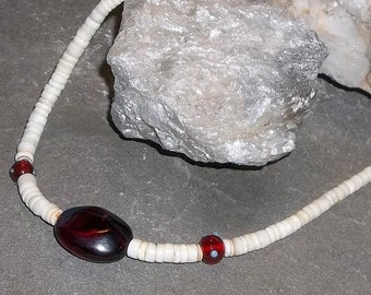 Vintage Heishi and Red Focal Bead Necklace, ooak