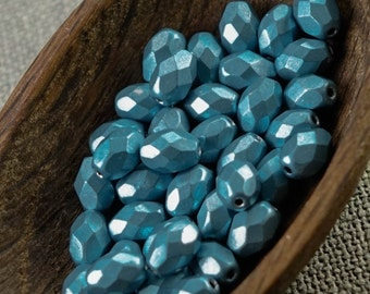 50pc Faceted Olive beads, Fire Polished Oval Beads, 8mm Matte turquoise glass beads, 8x6mm olive beads, Frosted turquoise blue rice beads L