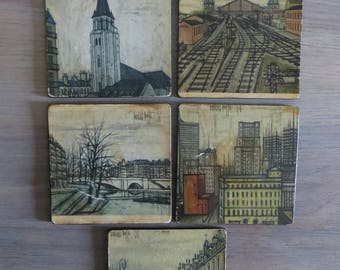 Vintage Bernard Buffet French art coasters, 50s home decor, set of 5, barware, wall art, architectural art, French scenery