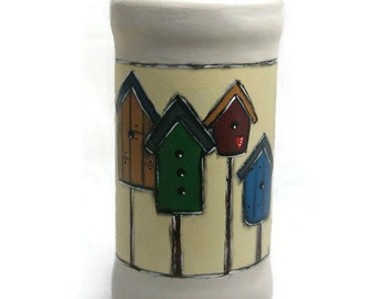 Pot with nest boxes and bird cabins - Painted flower vase - Glass vase and charms - Spring flowerpot