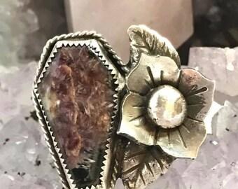 Coffin Ring, Sugar Skull Ring, Skull Ring, Skull jewelry, Charoite jewelry, Charoite Ring, Memento Mori Ring, Beloved Flower Ring