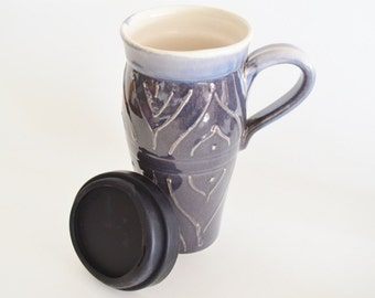 IN STOCK. Coffee Travel Mug with Lid, Large Ceramic Commuter Mug with Handle, 24 oz Stoneware Coffee Mug