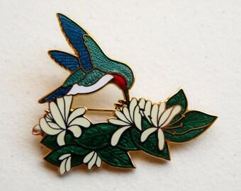 Vintage Cloisonne Enamel Hummingbird Brooch Pin Ruby Throated Floral Flowers