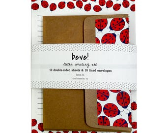 Ladybug Letter Writing Set - Summertime Stationery Set