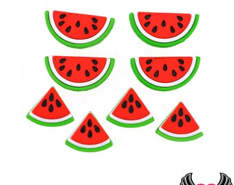 Jesse James Buttons 8 pc WATERMELON Buttons OR Turn them Into Flatback Decoden Cabochons (#234), Fruit buttons