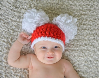 Red and White Christmas Double Pom Pom Hat- Winter beanie- available in all sizes - Santa pom pom hat