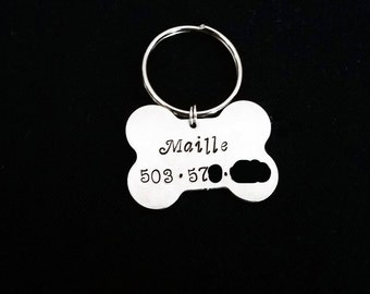 Dog Tag, Pet ID Tag, Personalized Dog Tags, Dog Name Tag, Pet Tag, Custom Dog Collar Tag, Hand Stamped Tag, Aluminum ID Tag, phone number