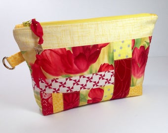 Spring Clutch, Zipper Clutch Purse, Bridesmaid Gift, One of a Kind Zippered Pouch, Makeup Toiletry Handbag, Red Yellow Tulip Diaper Clutch