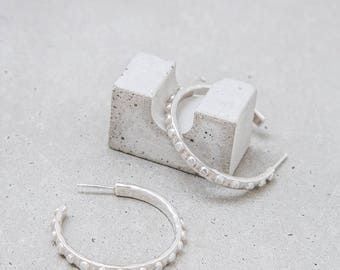 NEW / Silver Hoop Earrings / sterling Dote hoops / sculptural dot texture / everyday jewelry