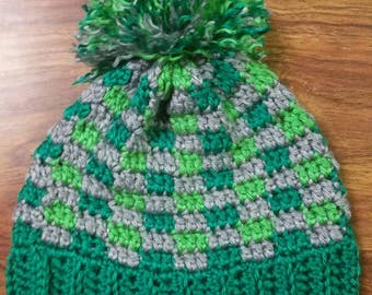 Plaid Crochet Winter Hat with detachable pompom