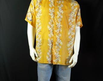 Short sleeve button up Men vintage clothing Hawaiian shirt Tropical print button down silk shirt 90s retro beach yellow hibiscus shirt L