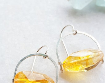 Sterling Silver Citrine Crecent Earrings