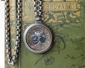 Antique Button Necklace Pocket Watch Long Chain, Victorian Floral Necklace Heirloom Jewelry Chunky Upcycled Jewelry veryDonna