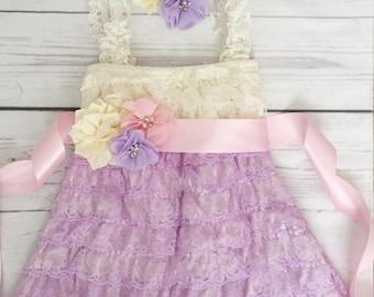 Baby girl lace dress-lace dress-Easter spring dress-1st birthday dress-aqua lavender ivory dress-pink lavender flower girl dress-cake smash