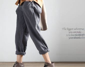 Woman pants linen Pants cotton Pants Long Pants Pocket Pants #p1701
