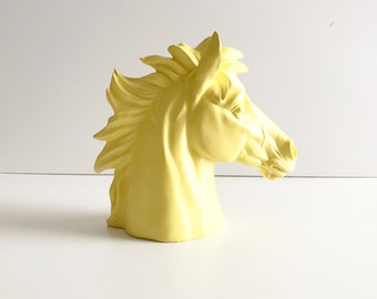 YELLOW Horse Bust Statue for table top in Yellow / kids room decor / horse head/  stallion/  pony / office decor animal head  nursery