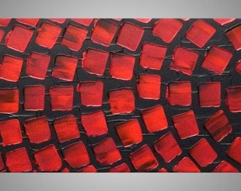 Acrylic Painting Abstract Paintings Wall Art Wall Deco Home Decor with Squares Modern Grey Red Paintings 42 x 10 Made to Order by ilonka