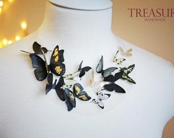 Black butterflies necklace, black butterfly necklace, black necklace, black gold, gothic necklace, black jewelry, butterfly jewelry, black