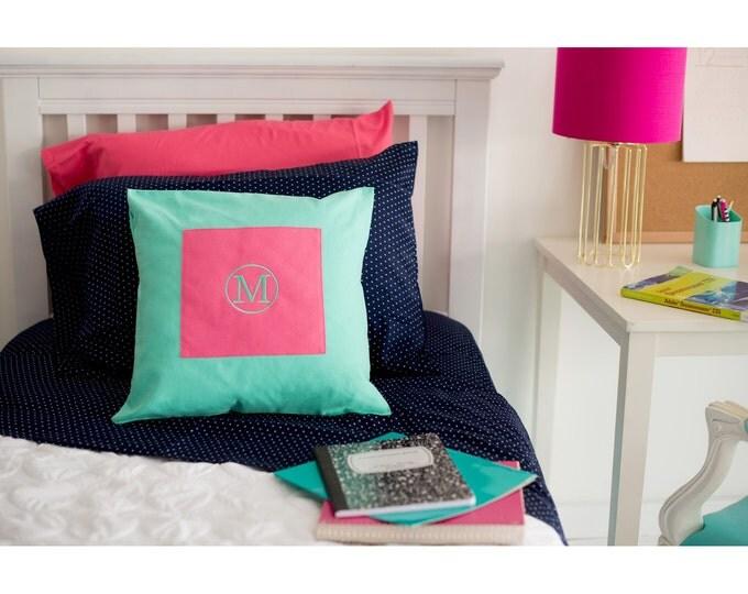 Monogrammed Pillow Cover, Dorm Decor, Monogrammed Pillow, Girls bedroom decor, Housewarming Gift, Bedroom decor, Teen girls room decor
