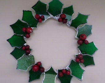 Stained glass, hanging, holly wreath.