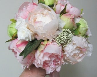 Bridesmaids Bouquets, Pink Bridal Bouquets, Silk Bridal Bouquets, Peonies and Mini White Preserved Roses, Made to Order Bridal Bouquets