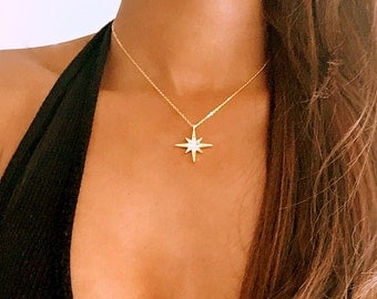 Rose Gold North Star Necklace, rose gold star necklace, rose gold necklace, rose gold jewelry, north star necklace, rose gold choker