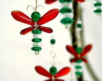 Red Green Christmas Ornament Wedding Decor Hanging Glass Suncatcher Wishing Tree Fairy Charm Angel Garland Window Firefly Baby Boy Shower