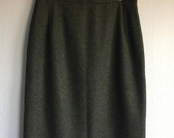 Tweed skirt, Pencil Skirt, Wool Tweed Skirt, Classic Tweed Skirt Green, Womens Midi Skirt