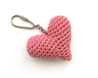 Love Heart Key Ring Keychain Charm/ Valentines Gift Simple Sweet / Sweetheart / Pink / Organic Natural Eco-friendly