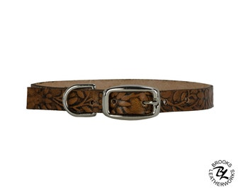 Leather Dog Collar, Embossed Leather Dog Collar, Leather Pet Collar. 3/8 Inch Wide Embossed Leather Dog Collar