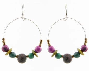 Mixed Seed Earrings / Tagua Nut & Acai Earrings / Tagua Earrings / Circle Earrings / Tagua Seed Earrings / Fair Trade / Acai Jewelry