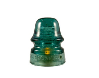 Vintage Teal Green Glass Insulator Lamp with LED Tea Light // Insulator Night Light / Glass Insulator Outdoor Patio Lighting / Brookfield NY